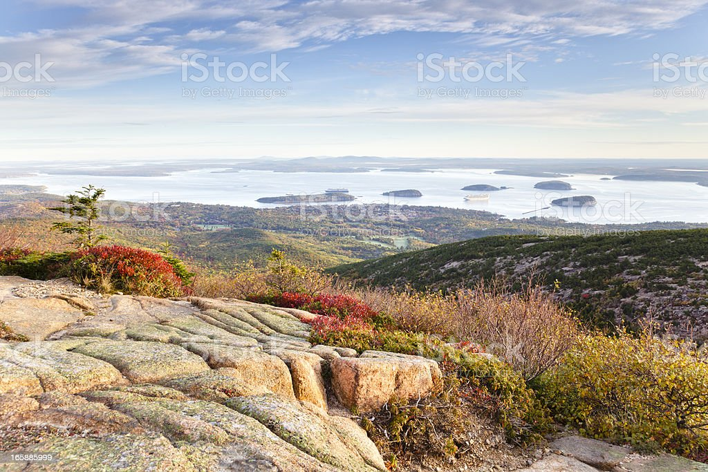 Frenchman Bay from Cadillac Mountain, Acadia National Park stock photo