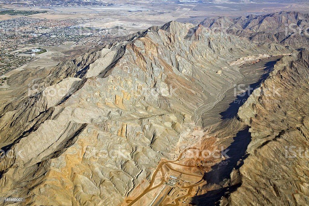 Frenchman Mountain and Las Vegas Arial View USA stock photo