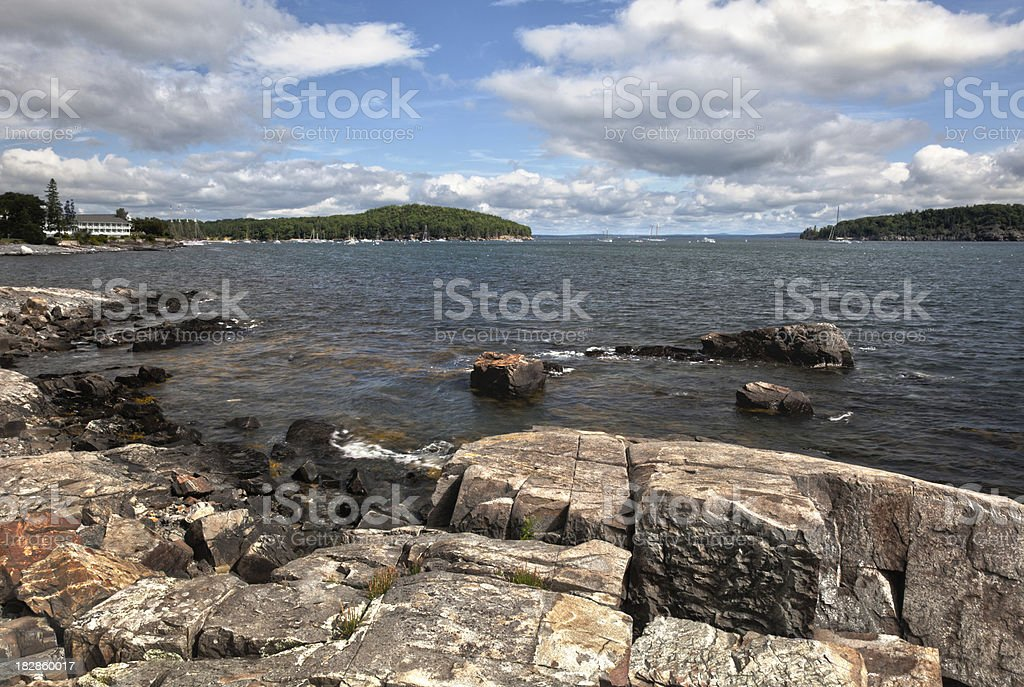 Frenchman's Bay viewed from Bar Harbor, ME stock photo