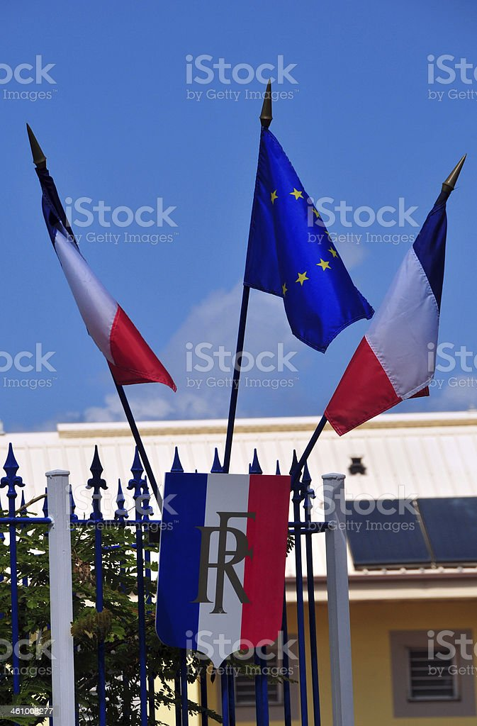 French-Republic shield with French and European flags stock photo