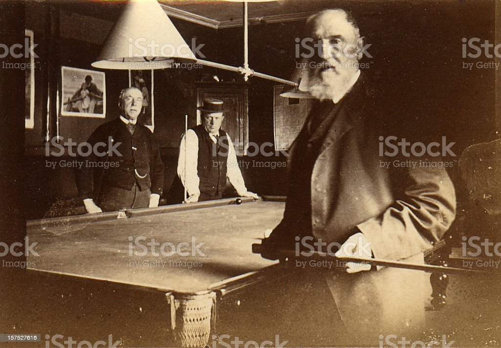 Frendly game of billiards stock photo