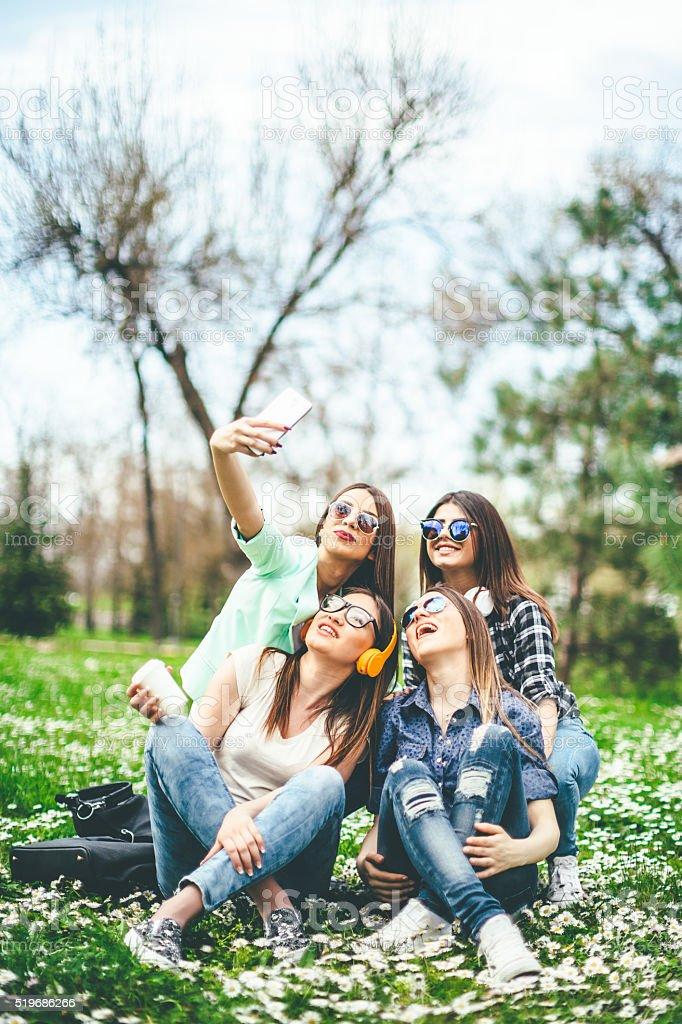 frends selfie stock photo