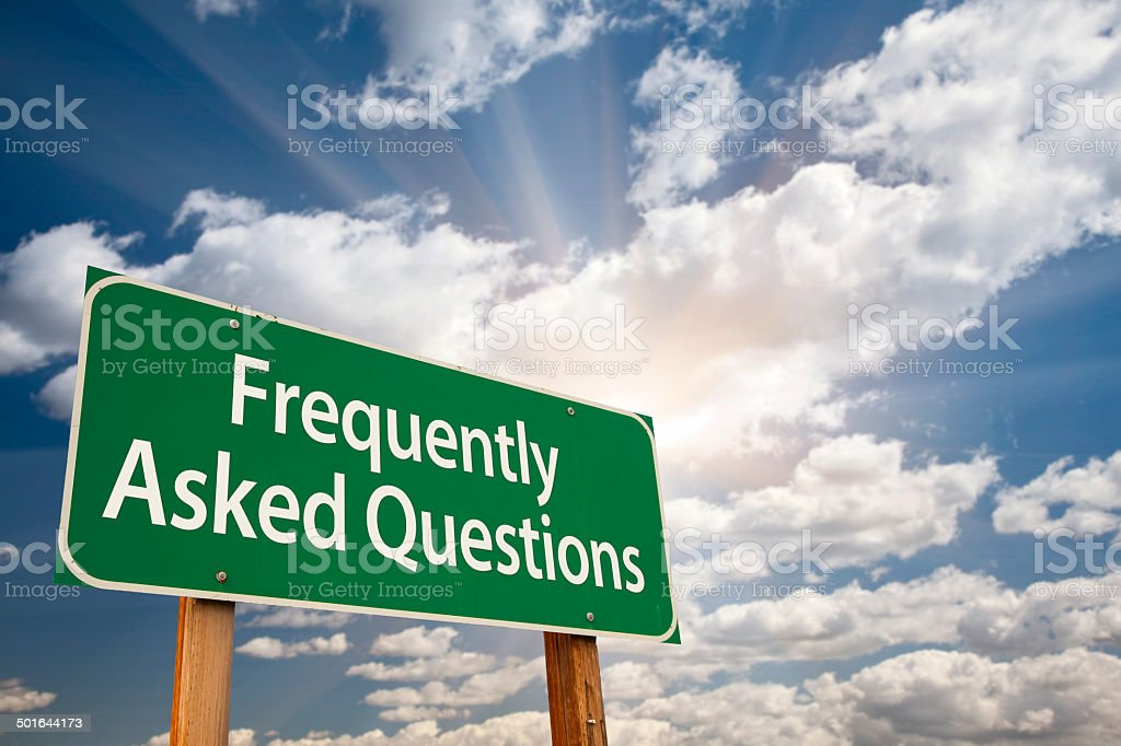Frequently Asked Questions Green Road Sign stock photo