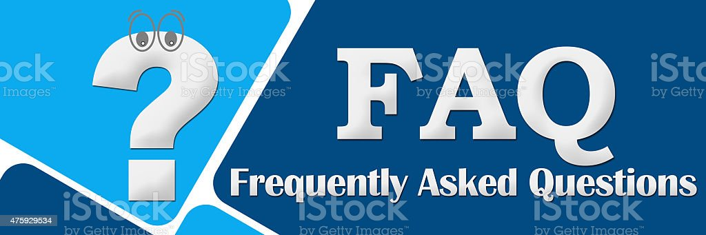 FAQ - Frequently Asked Questions Two Blue Squares stock photo