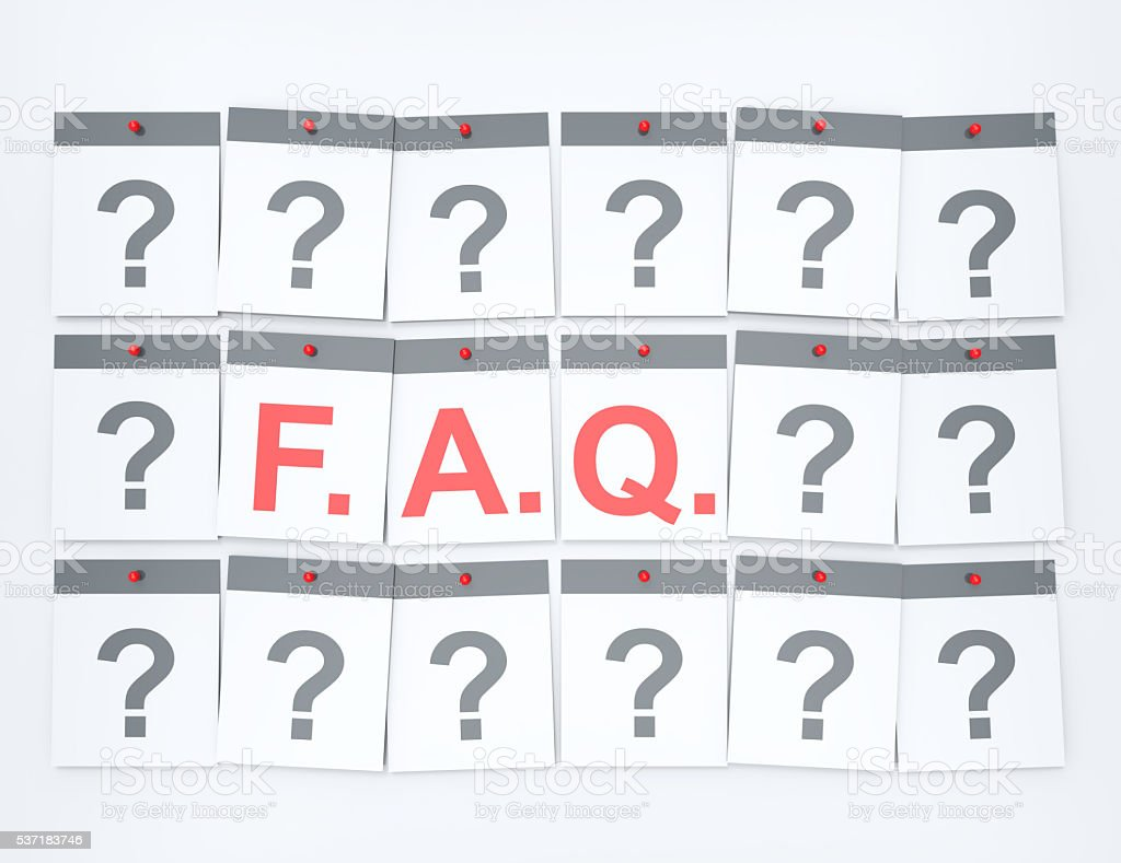 Frequently asked questions word on calendar pages concept stock photo