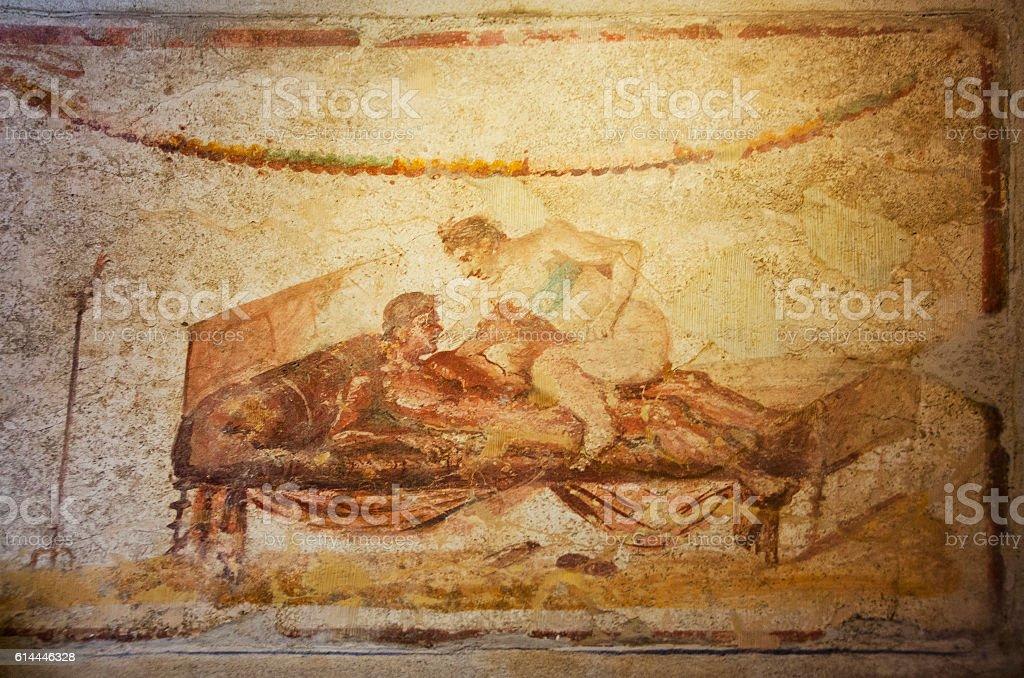 Fresco at Lupanare Brothel in Pompeii, Italy stock photo