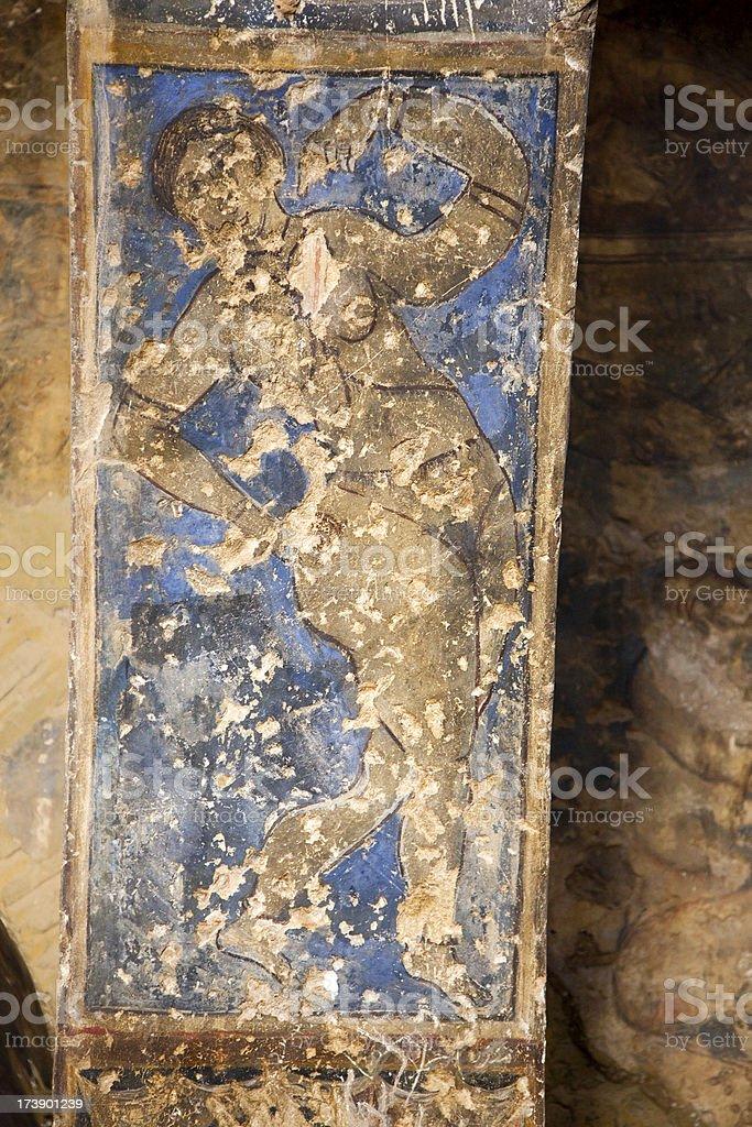 Fresco from castle Qasr Amra stock photo