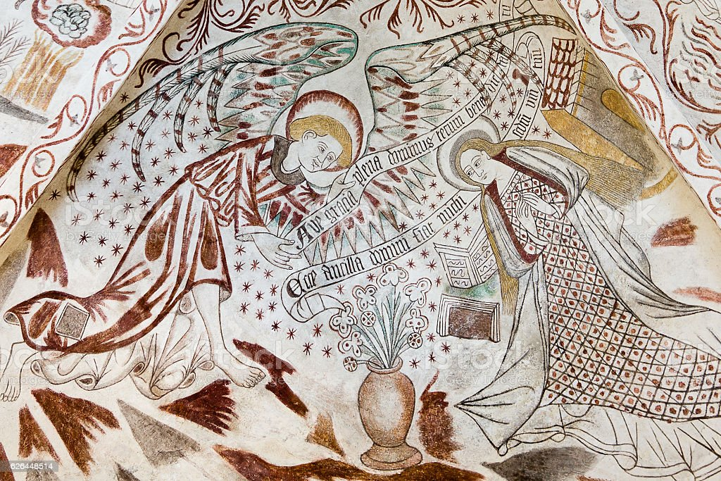 Fresco in a Danish church. The annunciation stock photo