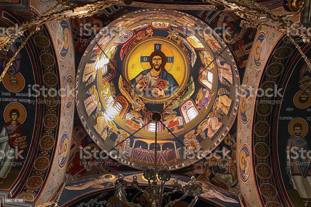 Fresco in monastery Kaona royalty-free stock photo