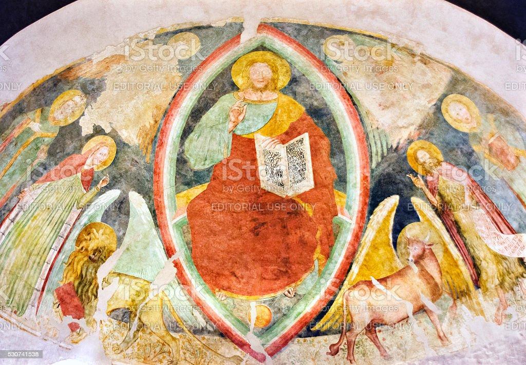 fresco in the early christian Basilica Saint Eufemia stock photo