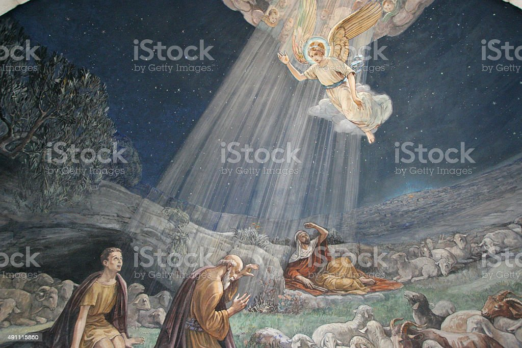 Fresco in the Shepherds' Fields Church, Bethlehem stock photo