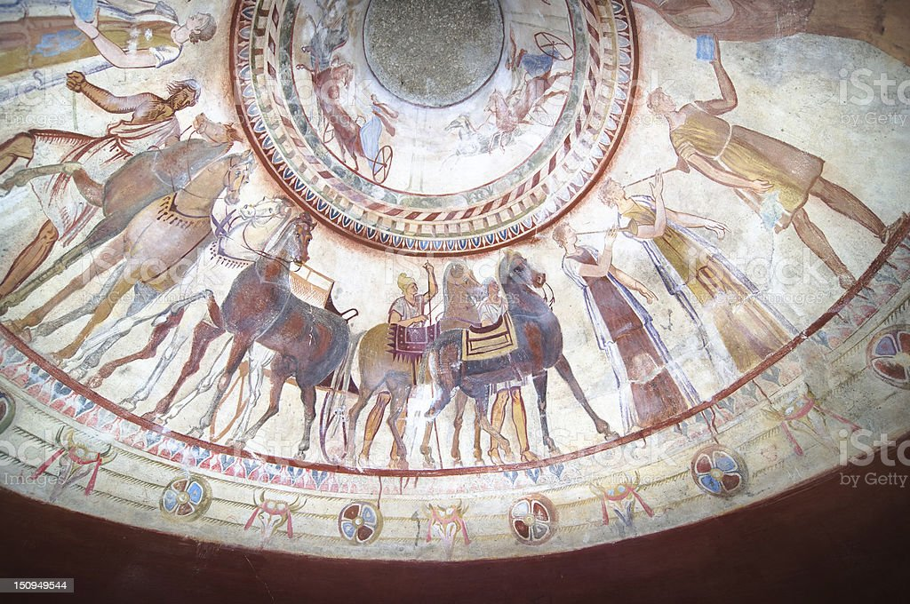 Fresco In Tomb Of Thracian King stock photo