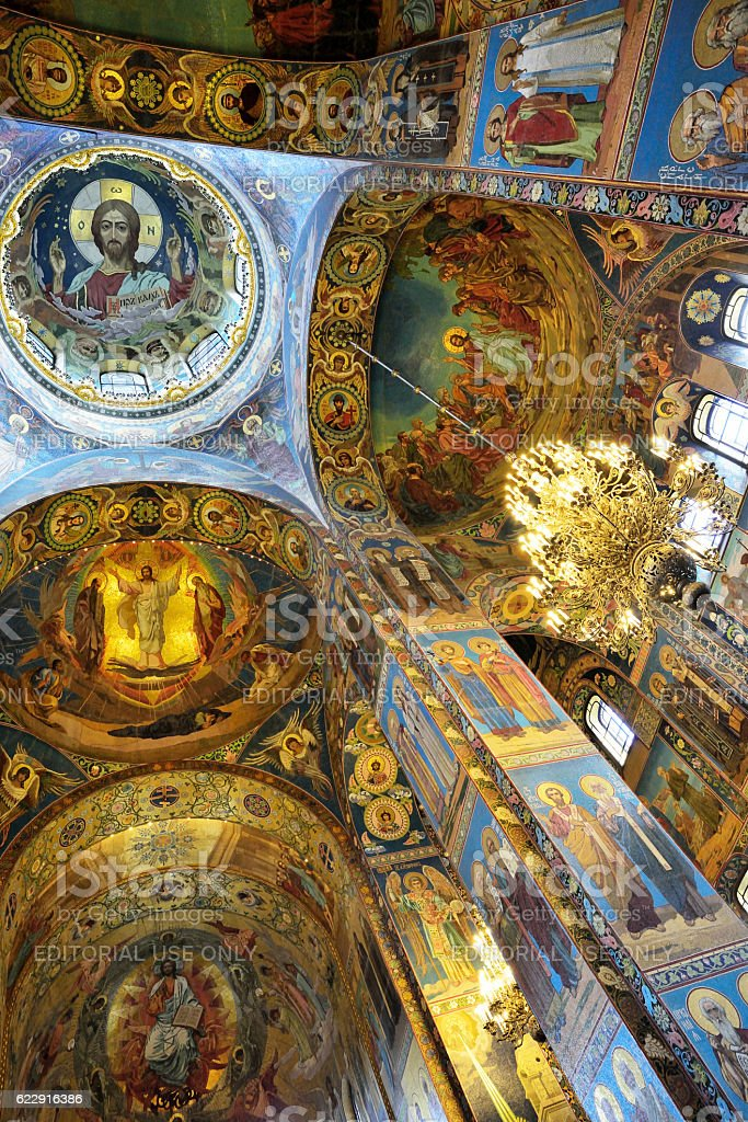 Fresco inside the Savior on Spilled Blood Cathedral stock photo