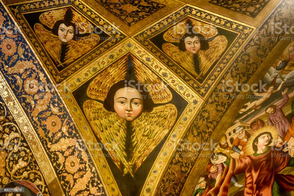 Fresco inside Vank Cathedral in Isfahan, Iran stock photo