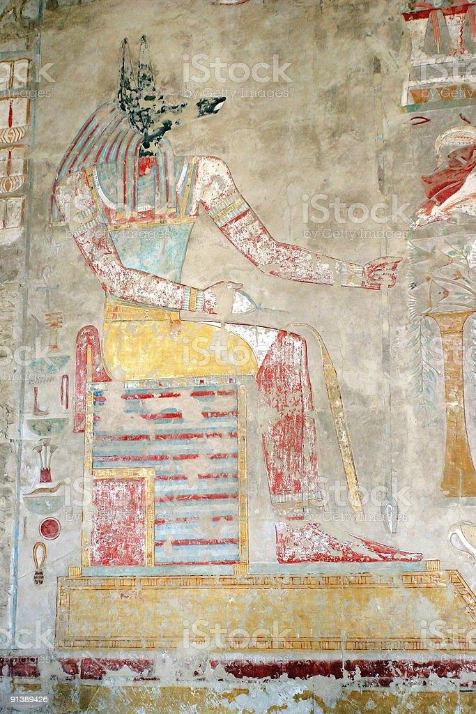 Fresco of ancient Egyptian dog-headed god Anubis royalty-free stock photo