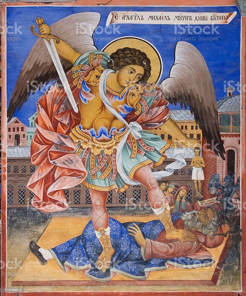 Fresco of Rila Monastery in Bulgaria royalty-free stock photo