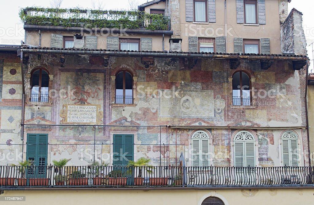 Fresco on building facace in Piazza Erbe. Verona-Italy, royalty-free stock photo