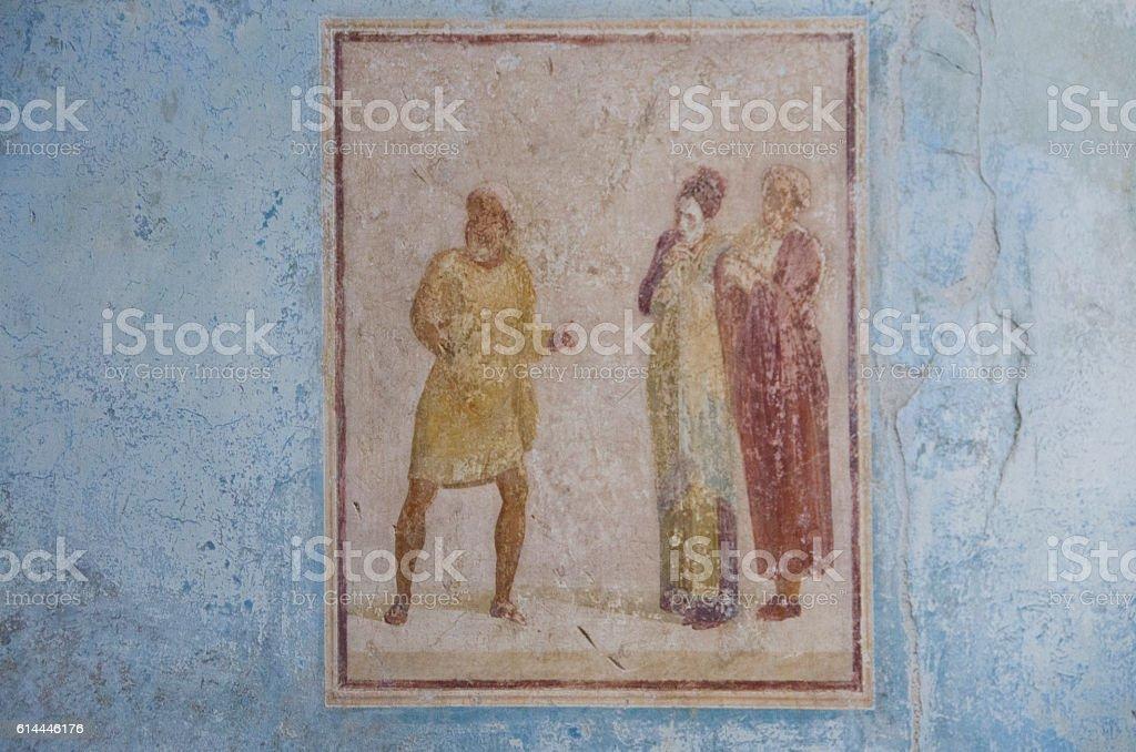 Fresco on the Wall at Pompeii, Italy stock photo