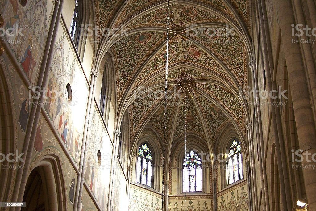 fresco painted church ceiling stock photo