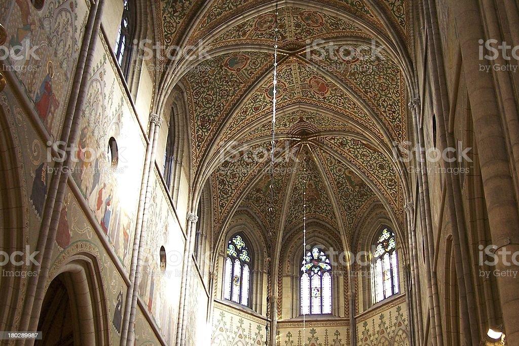 fresco painted church ceiling stock photo