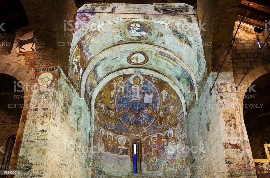 Fresco paintings in  Church Sant Climent de Taull. stock photo