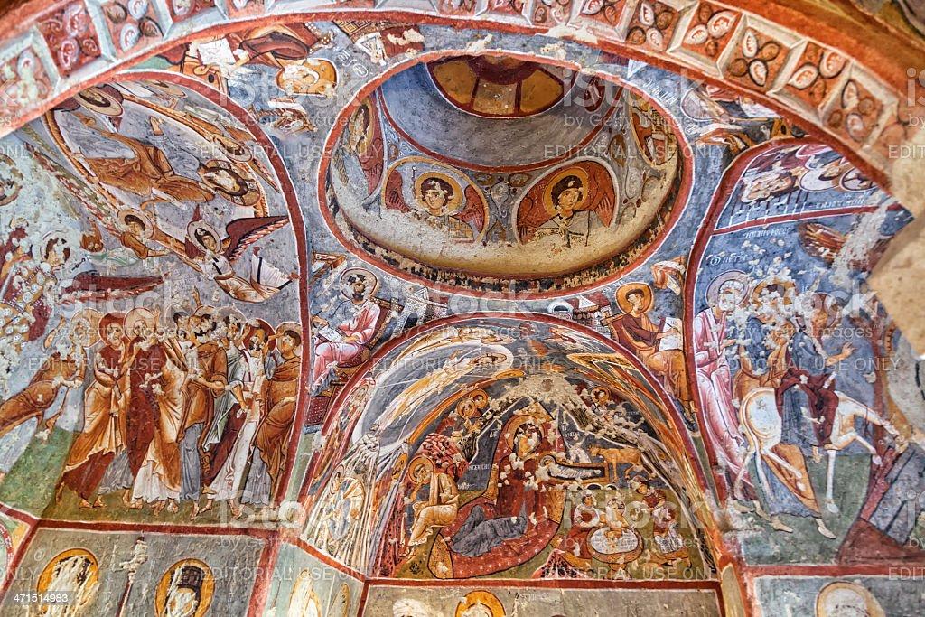 Fresco paintings of a historic church in Cappadocia, Turkey stock photo