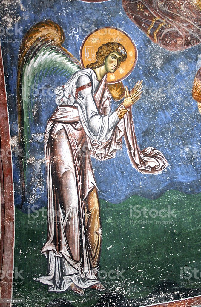 Frescoe of Archiangel Gabriel, church Saint George stock photo