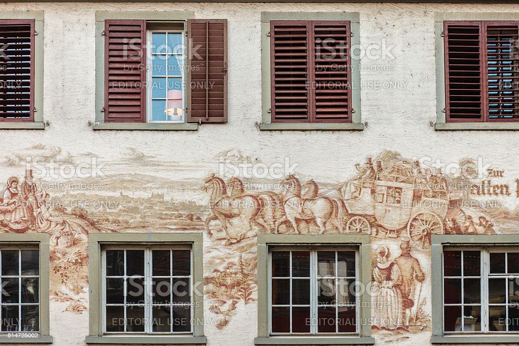 Frescoed Building, Steckborn stock photo