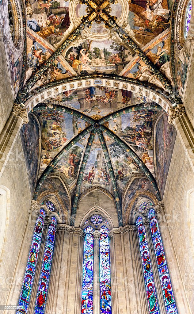 Frescoed Ceiling Arezzo Cathedral Italy stock photo
