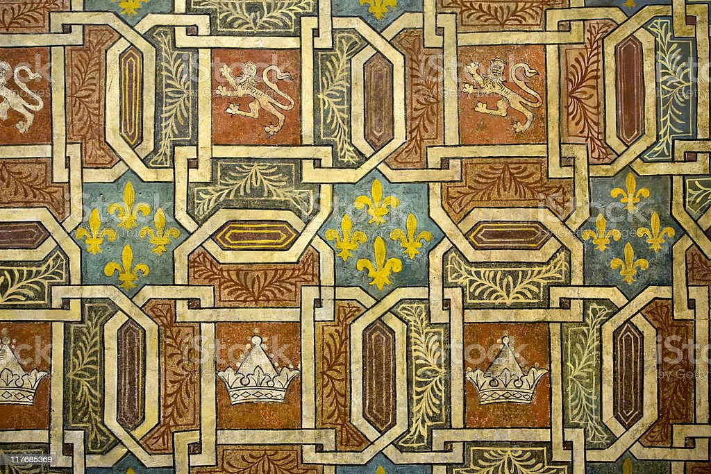 Frescoes in Palazzo Davanzati royalty-free stock photo
