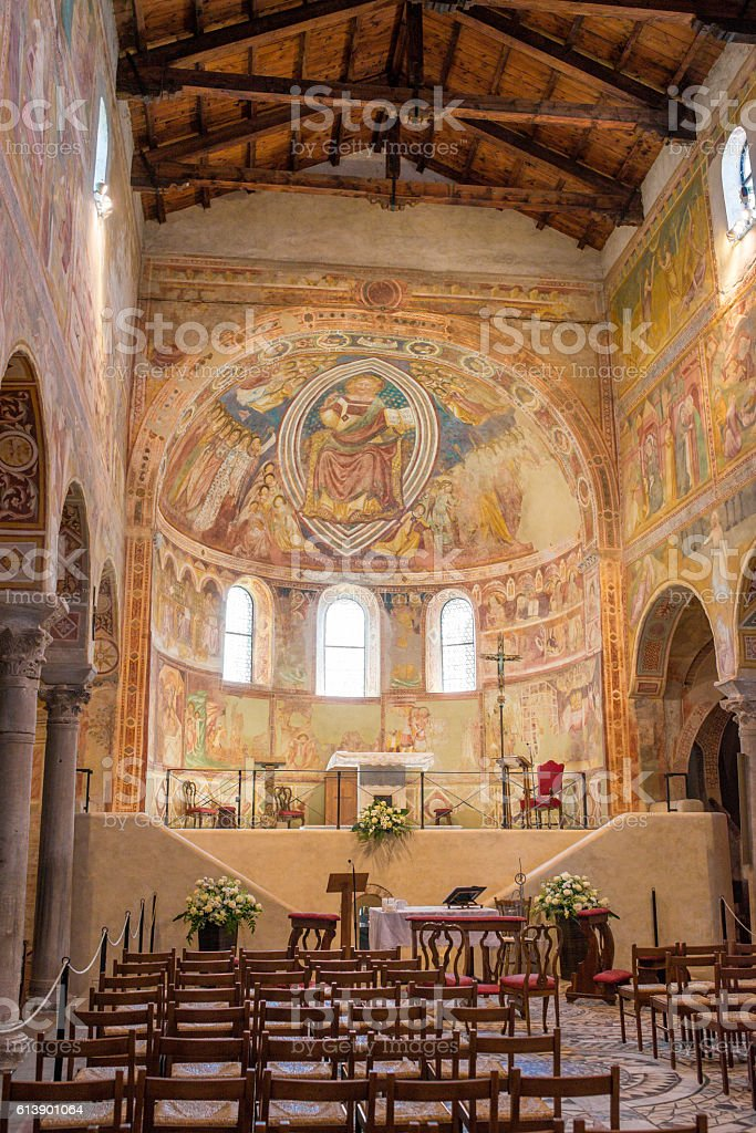 Frescoes medieval Cathedral of Chioggia, monuments stock photo