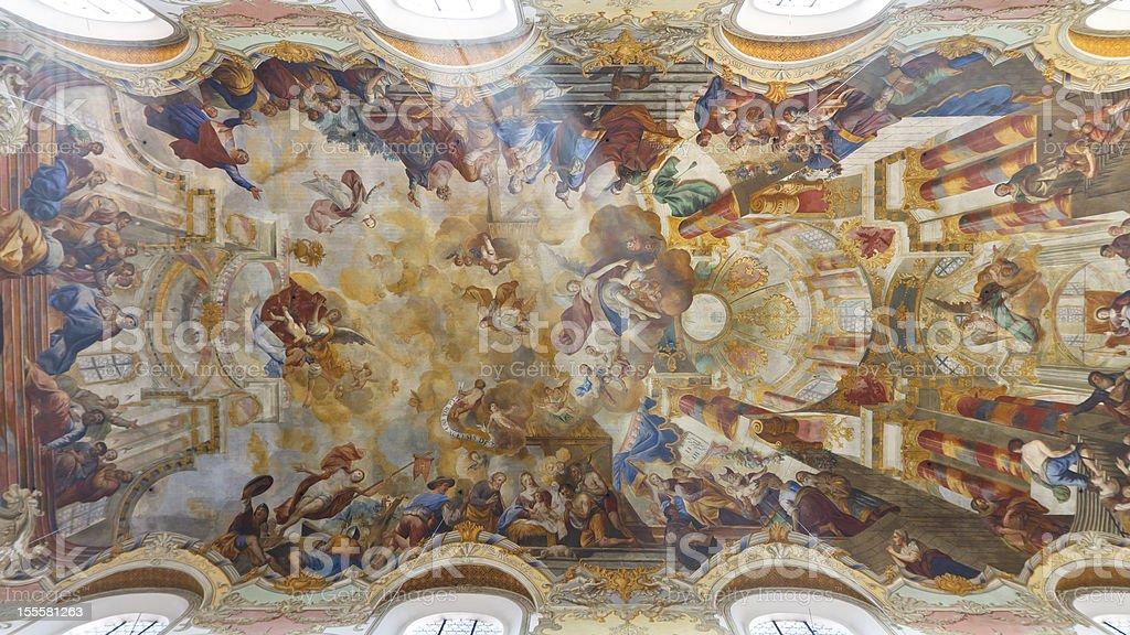 Frescos at Baroque Church stock photo