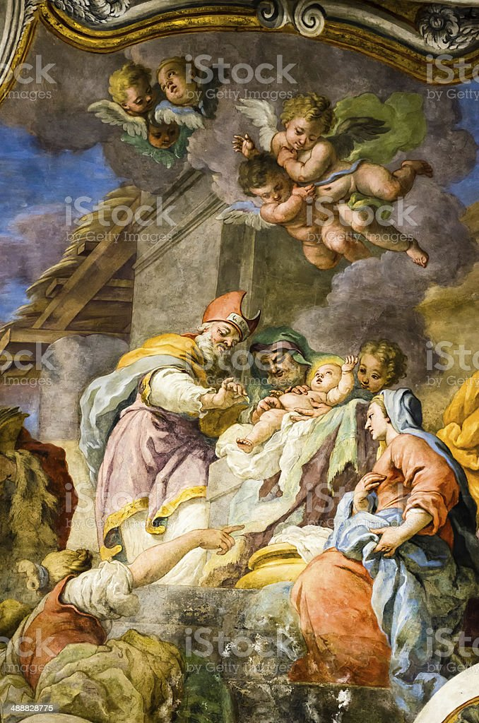 Frescos of the Madonna and Child stock photo