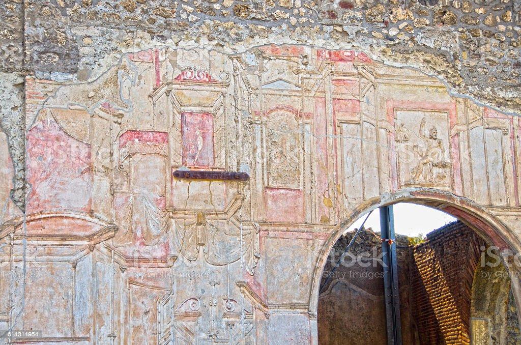 Frescos on Wall of Stabian Baths at Pompeii, Italy stock photo