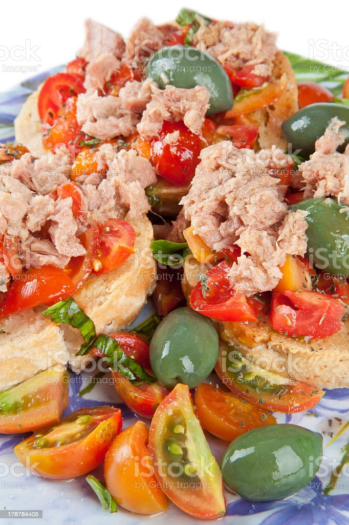 Fresella italian bread with tuna and tomatoes royalty-free stock photo