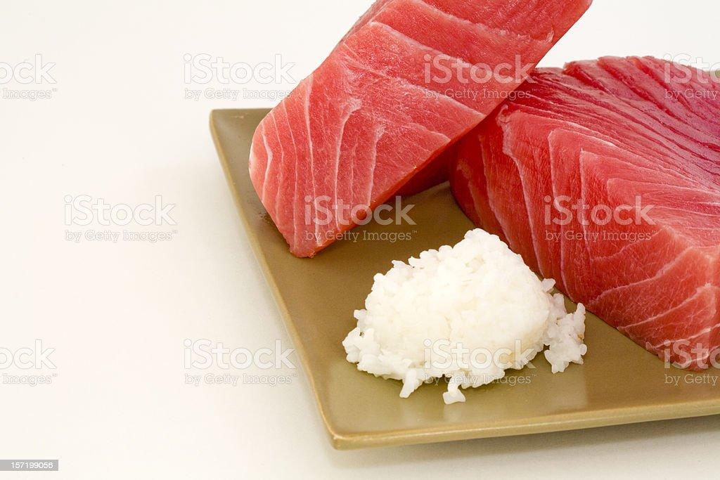 Fresh Ahi and Rice stock photo