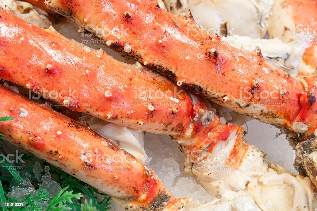 Fresh Alaska King Crab Legs at Pike Place Market stock photo