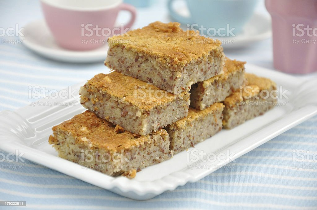 Fresh Almond Bars with white Chocolate royalty-free stock photo