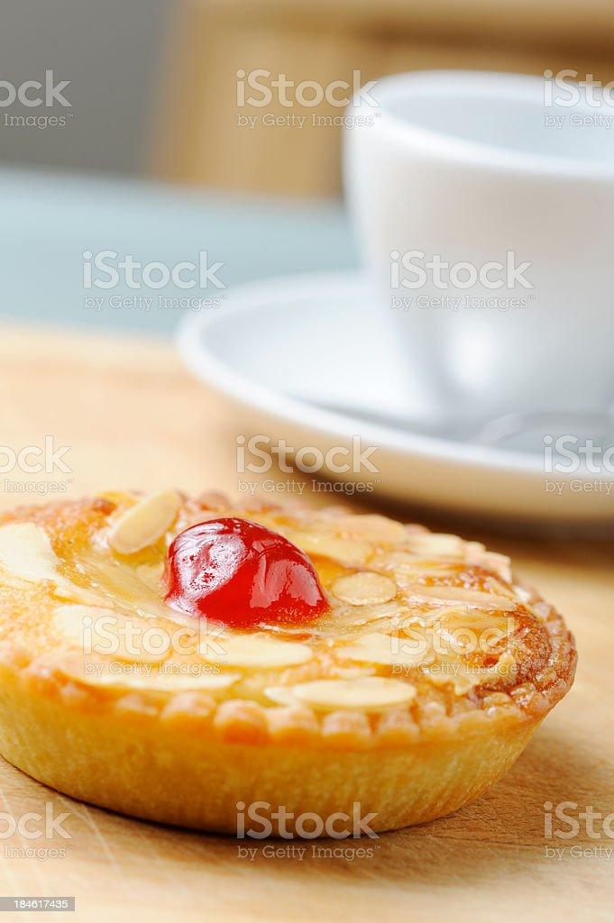 Fresh Almond Tart and Coffee royalty-free stock photo