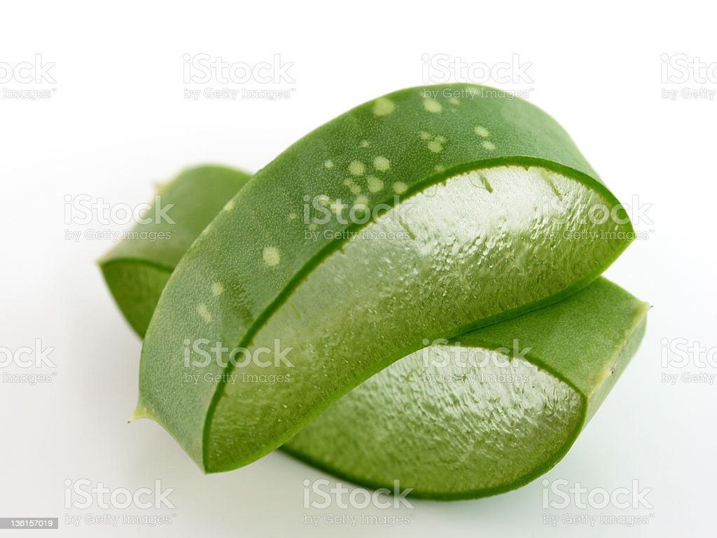 Fresh Aloe Vera, gel and texture is visible stock photo
