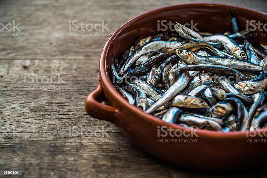 Fresh anchovy in pottery stock photo