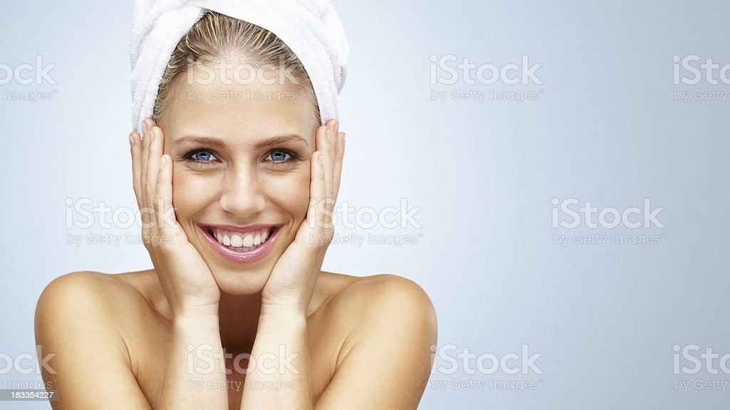 Fresh and beautiful young woman against colored background royalty-free stock photo