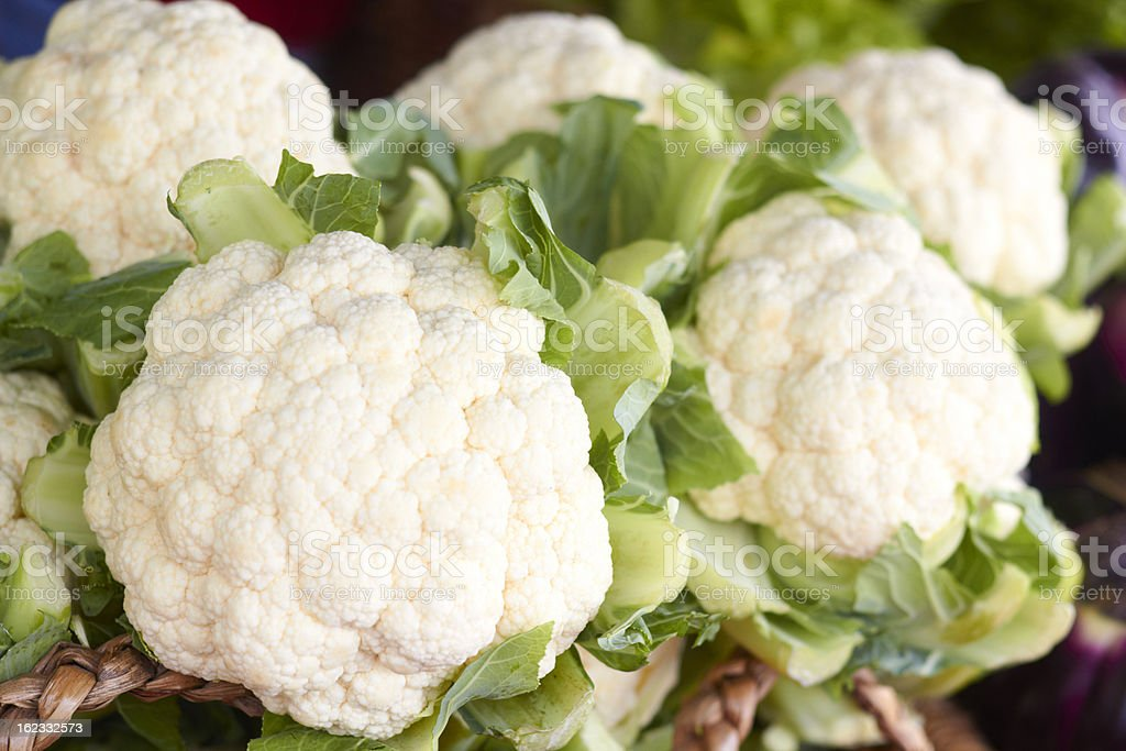 Fresh And Cauliflowers For Sale In the Market stock photo