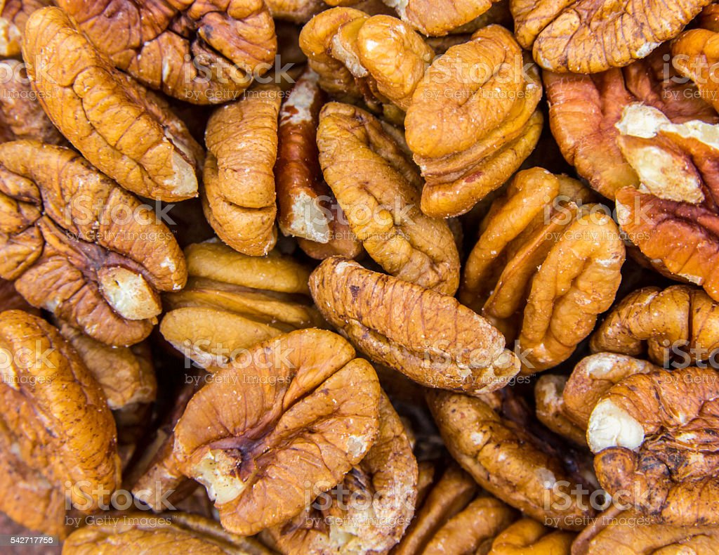 Fresh and crunchy pecan nuts stock photo