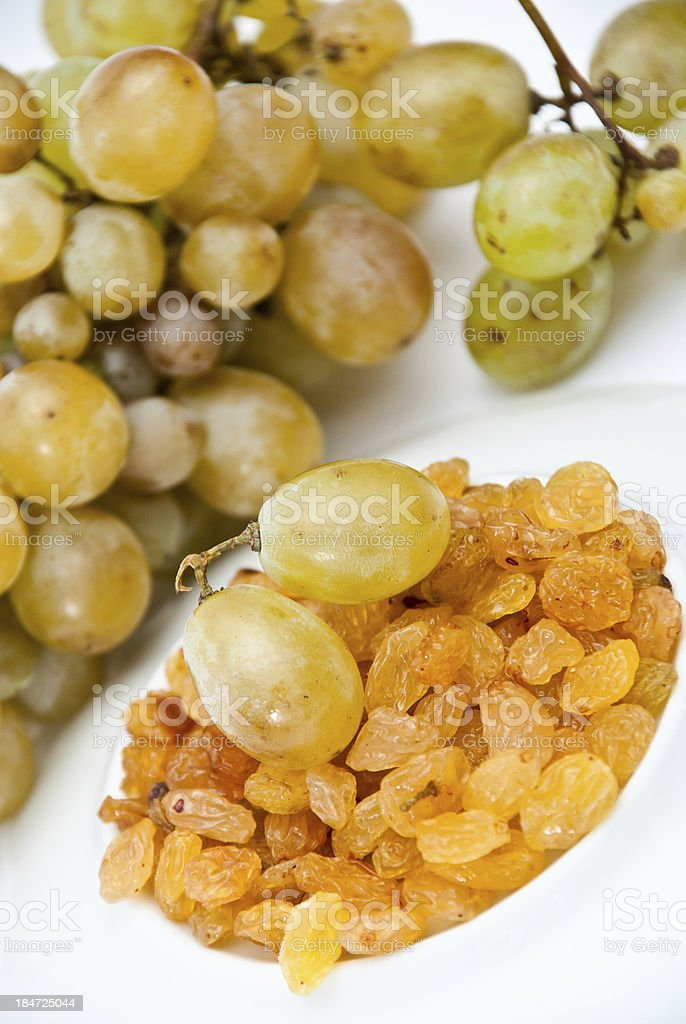 Fresh and dried grapes royalty-free stock photo