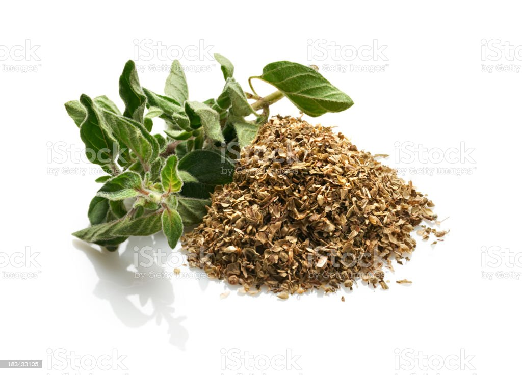 Fresh and Dried Oregano, White Background stock photo