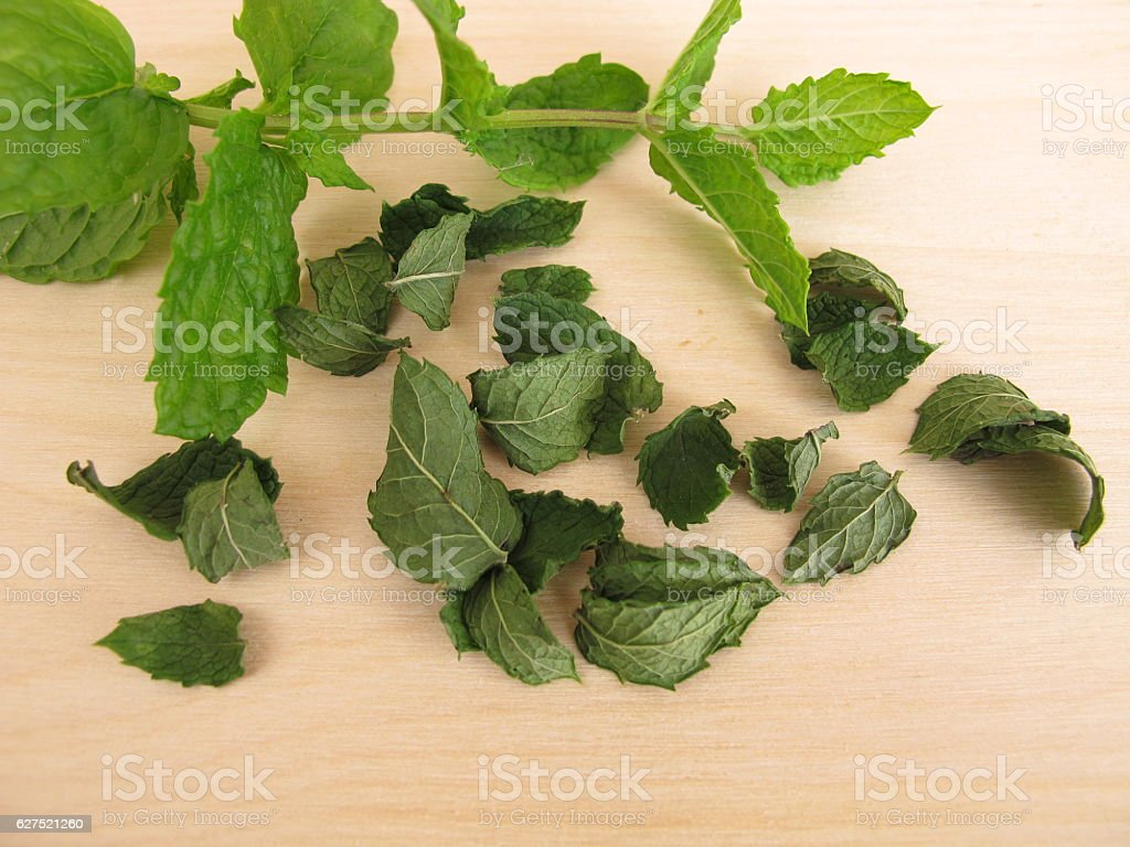 Fresh and dried peppermint leaves stock photo