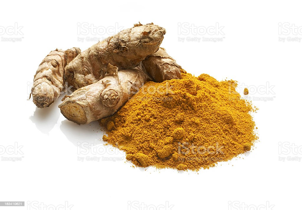 Fresh and Dried Turmeric, isolated on white stock photo