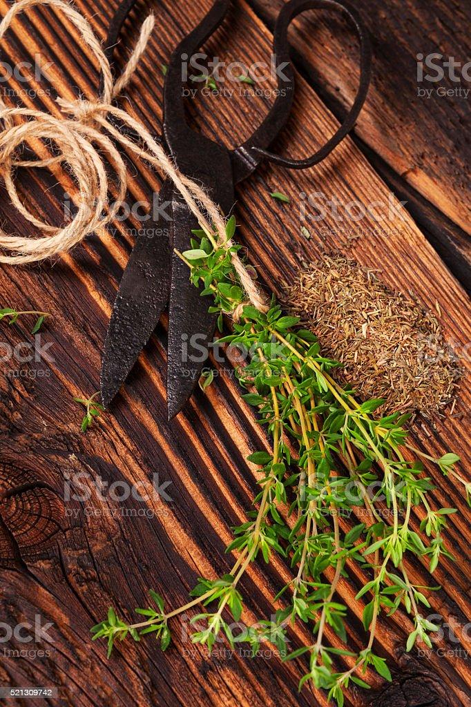 Fresh and dry marjoram herb. stock photo
