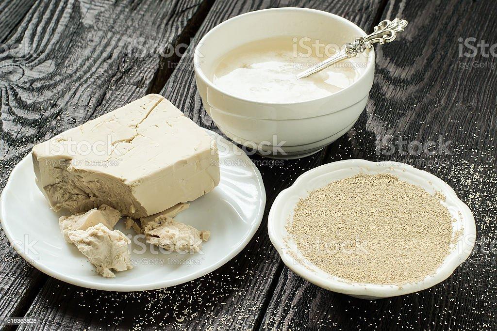 Fresh and dry yeast, yeast starter stock photo